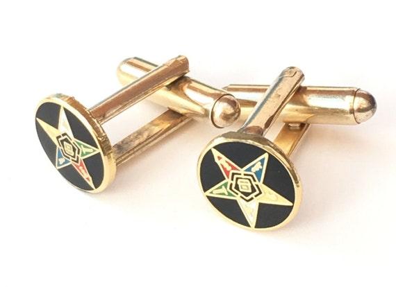 Masonic Eastern Star Small Faced Crested Star Symbol Cufflinks