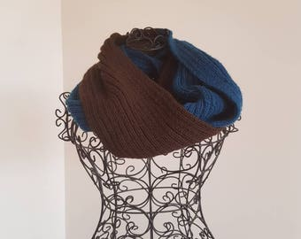 Brown and blue infinity scarf/cowl