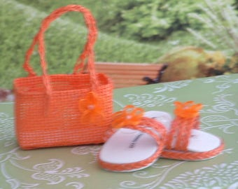 Orange Braided Sandals with Matching Purse for American Girl Dolls