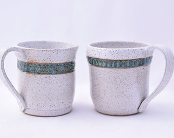 Coffee Mug in Vanilla Bean and Teal - Ceramic Stoneware Pottery