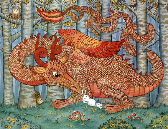 Red dragon rabbit forest woodland art print 11x14 thecheapjerseys Gallery