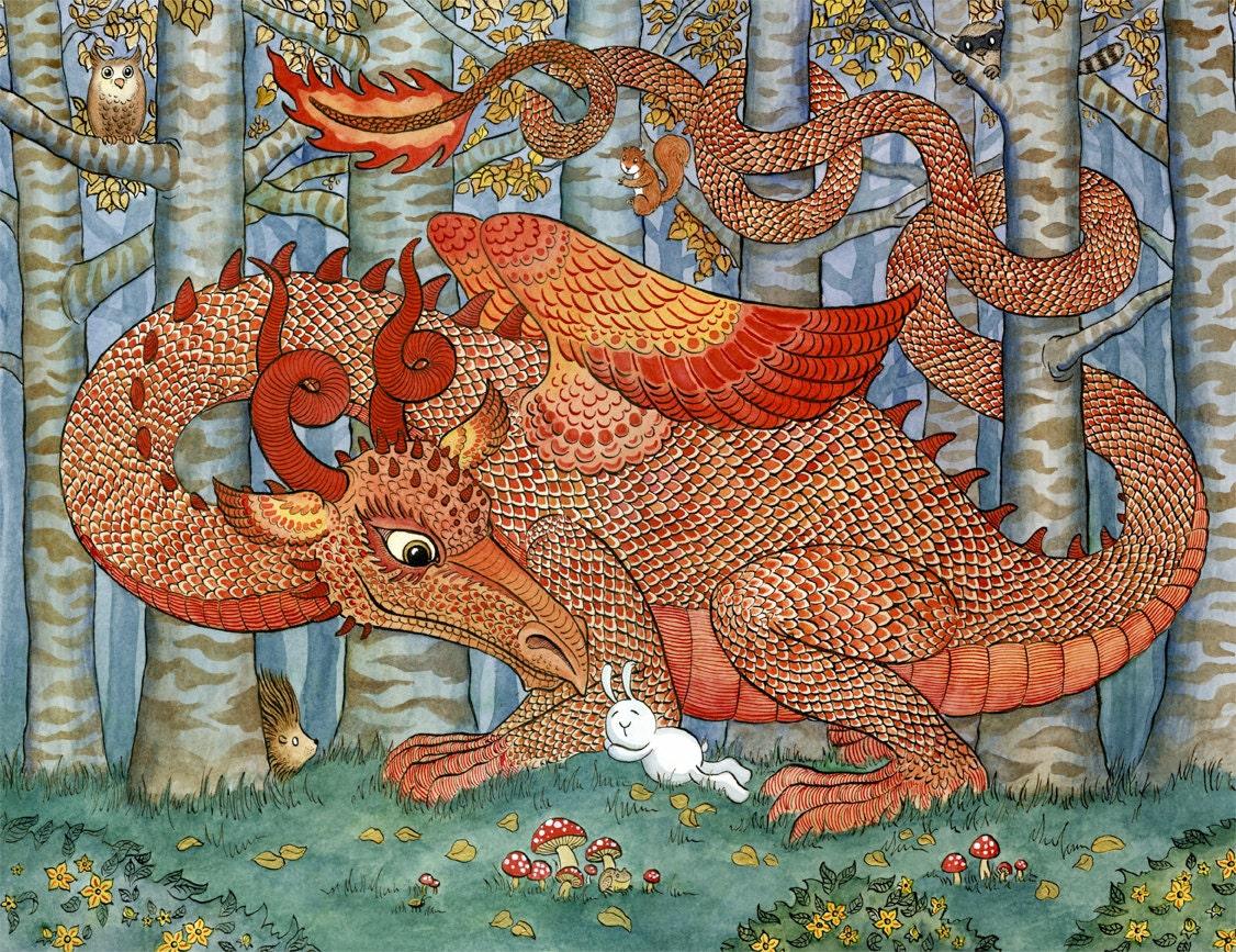 Red dragon rabbit forest woodland art print 11x14 zoom altavistaventures Image collections