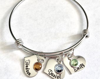 Personalized Name/birthstone silver stainless steel heart charm Bangle Family names Mom Bracelet