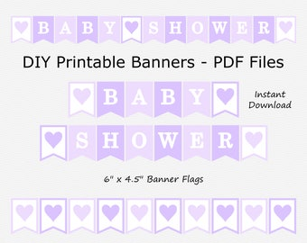 Baby Shower Banner with Hearts - Pale Purple, Pastel Purple & White - PRINTABLE - INSTANT DOWNLOAD