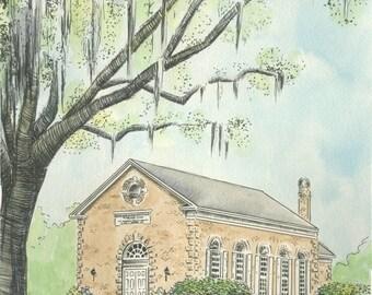 Bethesda Whitefield Chapel Savannah Watercolor Print
