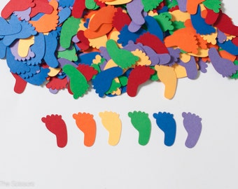 Rainbow Baby Shower, Baby Shower Decoration, Confetti, Footprint Baby Shower