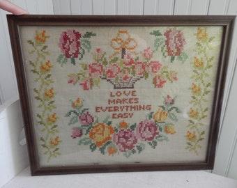 Linen Cross Stitch Flower Basket Sampler - Wedding Cross Stitch Sampler - Love Makes Everything Easy - c.1974 Country Farmhouse Sampler