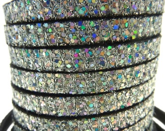 Strip 5mm flat leather silver iridescent multicolor, sold by 20 cm