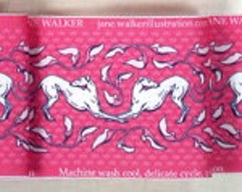 Jane Walker Design Art Nouveau Hound Collar Fabric Strip AN-DrkPink/White