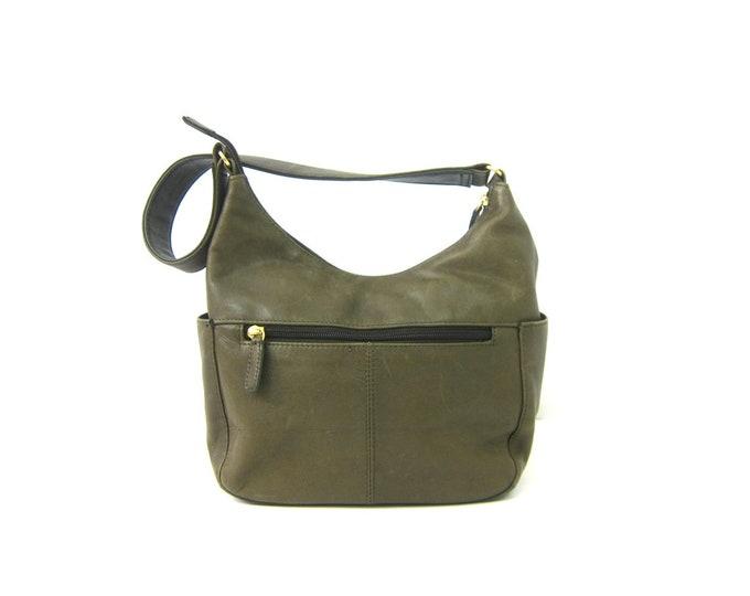 Army Green Leather Purse Vintage Shoulder Purse Modern Minimal Soft Leather Bag 90s Everyday Preppy Purse