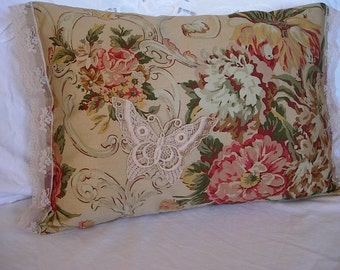 Two Floral Cotton Accent Pillows