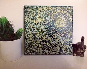 Mandala on acrylic fluid paintig