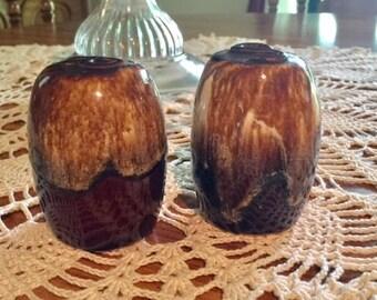 Vintage Brown Dipped Stoneware Salt N Pepper Shakers