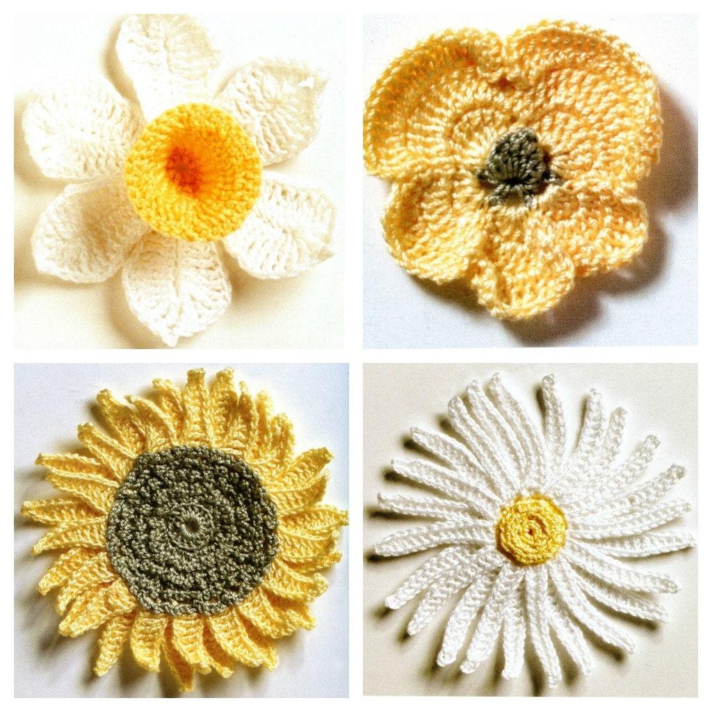 Fresh flowers crochet patterns 4 daisy pansy daffodil zoom izmirmasajfo