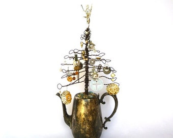 UPCYCLED WIRE/Silver TREE/ Jewelry Tree/ Holiday Ornament