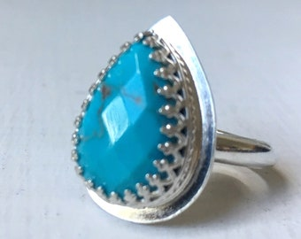 Sky Blue Turquoise Ring - Pear Shaped Faceted Turquoise set in a Crown Bezel