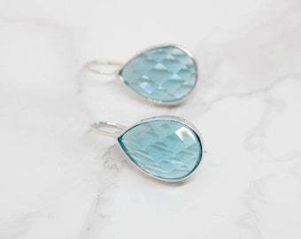 Earrings Silver plated aquamarine drop hammered shiny