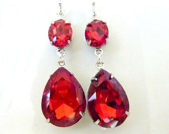 Ruby Earrings Siam Red Rhinestone Earrings Siam Red Teardrop Drop July birthstone Vintage Estate Style Earrings