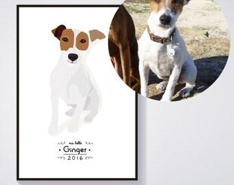 Custom dog Portrait - Individual dog portrait - custom personalized illustration - Print / Poster A4 - A3