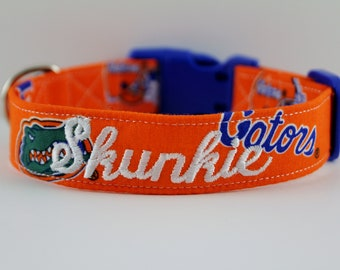 UF University of Florida Gators Hand-made Pet/Dog Collar-with optional Personalized Embroidery