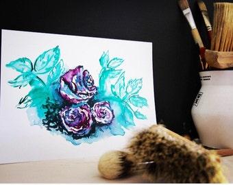 Watercolor Roses Print. Dark Roses. Impressionist Roses.