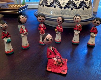 Mexican Singers,Chinacos Singer Group, Mexican, Clay Figures, Handcrafted, Miniature, Souvenir,Collector item,folk art,
