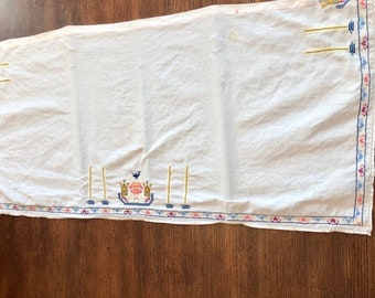 Beautiful Vintage Hand Embroidered Table Runner, Topper, Unique Design Embroidery Dresser Scarf.