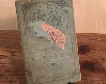Antique Book, Sunday School Almanac, 1864