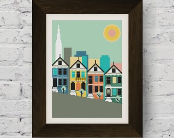 San Francisco Painted Ladies Skyline Cross Stitch Pattern (Digital Download)