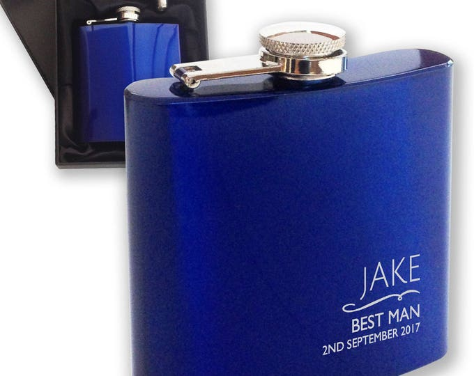 Personalised engraved BEST MAN hip flask WEDDING gift idea, blue reflective stainless steel presentation box - NYM4