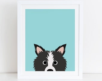 Border Collie Art Print, Instant Download, Printable Dog, Digital Art Print, Border Collie, Border Collie Print, Border Collie Wall Art