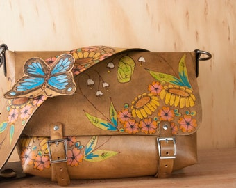 Guitar Strap Handbag - Brown Leather Crossbody Purse with Butterfly, Sunflowers and Chrysalis - Awakening - Third Anniversary Gift for Her