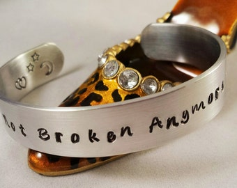 Blue October Inspired,Stamped OR ENGRAVED,Lyrical,Song Title,Not Broken Anymore cuff, Double Hearts, Aluminum Cuff, Half Inch Cuff