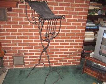 Vintage Fabulous Tall Sturdy Hand Wrought Black Iron Standing Folding Music Floor Stand