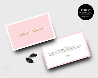 Gold business card etsy instant download business card design template blush pink gold feminine reheart Image collections