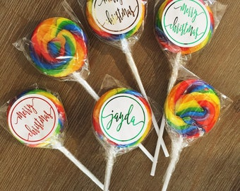 Merry Christmas or personalised lollipop in foil. stocking filler