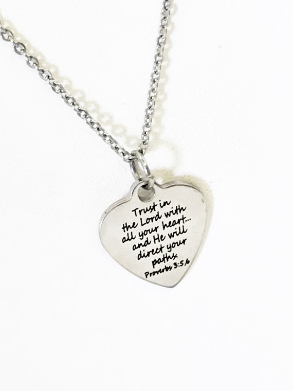 Scripture Jewelry, Scripture Necklace, Bible Verse Jewelry, Trust In The Lord With All Your Heart Jewelry, Scripture Gifts,  Proverbs 3 5 6