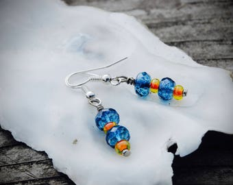 Blue and Orange drop earrings. Gift earrings, jewelry, earrings, gift earrings