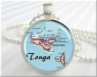 Tonga Map Pendant, Resin Charm, Polynesian Island Archipelago, Map Necklace, Picture Jewelry, Gift Under 20, Map Charm, Round Silver 625RS