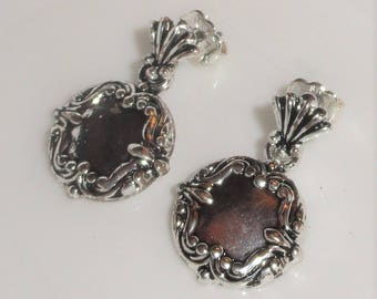 Signed AVON SH Silver Tone Repousse Style Dangle Drop Pierced Earrings
