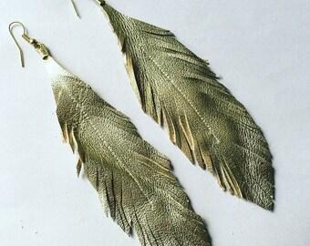 Feather Leather Earrings Gold Feather Earrings Extra Long Feathers Earrings Lightweight Gold Leather Feather Earrings BohoChic Bohemian