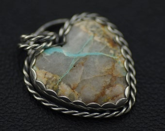 Crescent Peak Turquoise Heart Pendant