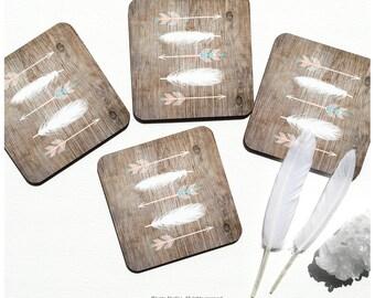 Coaster Set of 4 Faux Wood Print, Arrows Cork Coasters, Feathers Coaster Set, Tribal Coasters I127