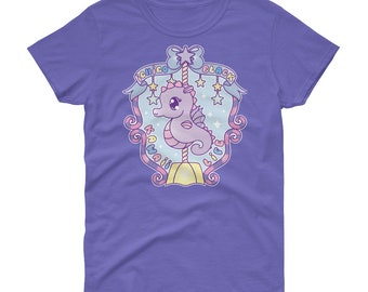 Kawaii sea horse seahorse carousel fairy kei decora short sleeve t-shirt tee adult--small to plus size choose color