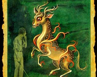 Golf art print, Imagination: Magical flaming Qirin, Golfer gift art, Asian mythological beast, Chinese unicorn, Fantasy golf décor print