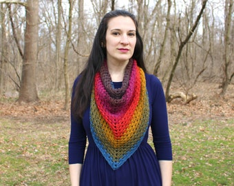Crochet triangle scarf - blanket scarf - triangle shawl - crochet shawl - crochet scarf - rainbow