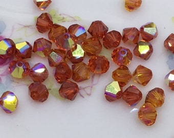 40  Padparadscha AB Swarovski AB Crystal Bicone Beads , Austrian Crystal Bicone Beads , 4mm