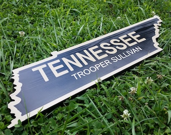 Tennessee state trooper, Tennessee sign, Tennessee state flag, Tennessee police, thin blue line, Tennessee home sign, TN shaped sign