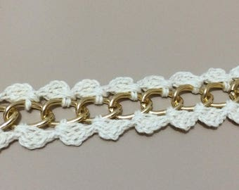 The 2 side hand made crocheted chain trim