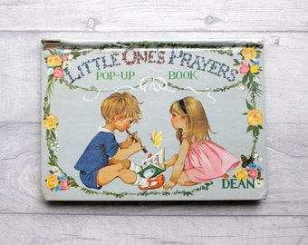 Vintage Pop Up Book, Vintage Children's Book, Illustrated Children's Book, Little Ones Prayers Book, Dean Book, 1960s Book, Child's Prayers